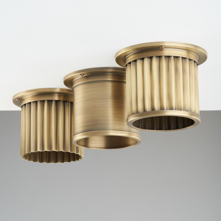 British And Objects Compton Spot Diffuser, Aged Brass Recessed Spot Light Shade For Sale