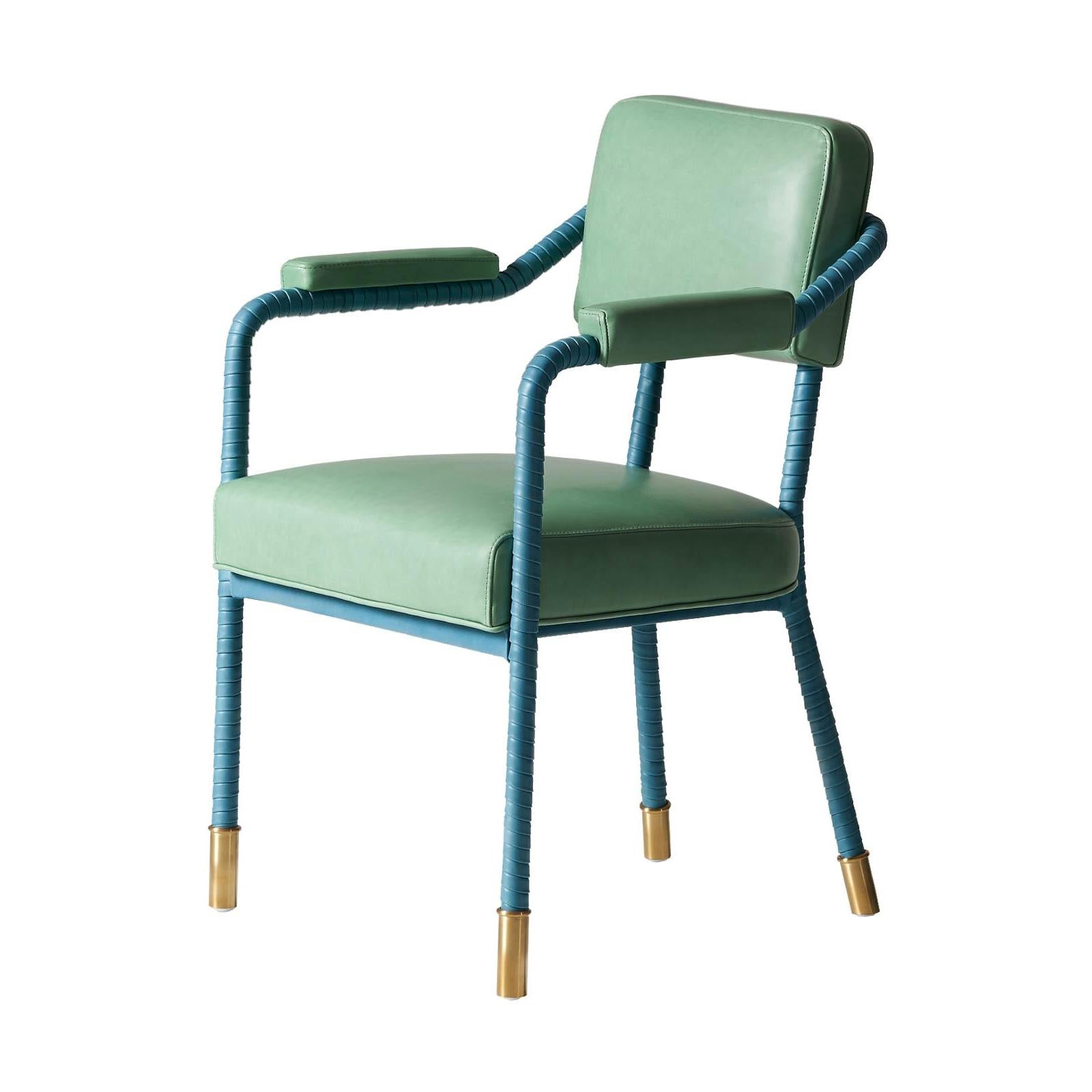 And Objects Easton Dining Chair, Fully Wrapped Upholstered Leather Fern & Teal