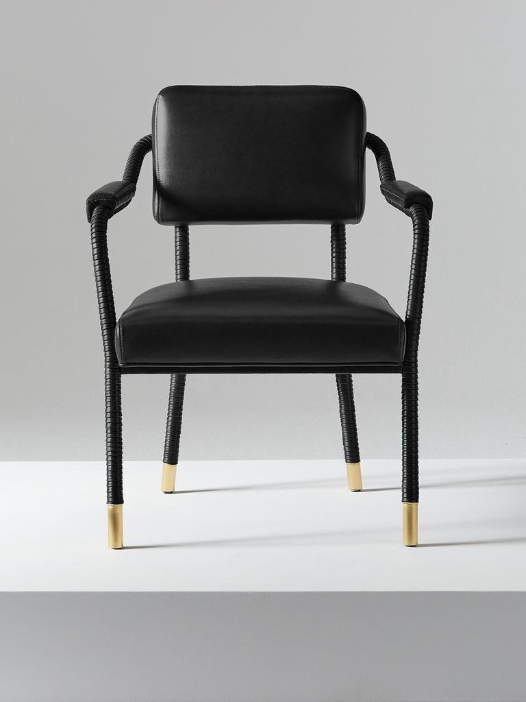 English And Objects Easton Dining Chair, Fully Wrapped Upholstered Leather in Black For Sale