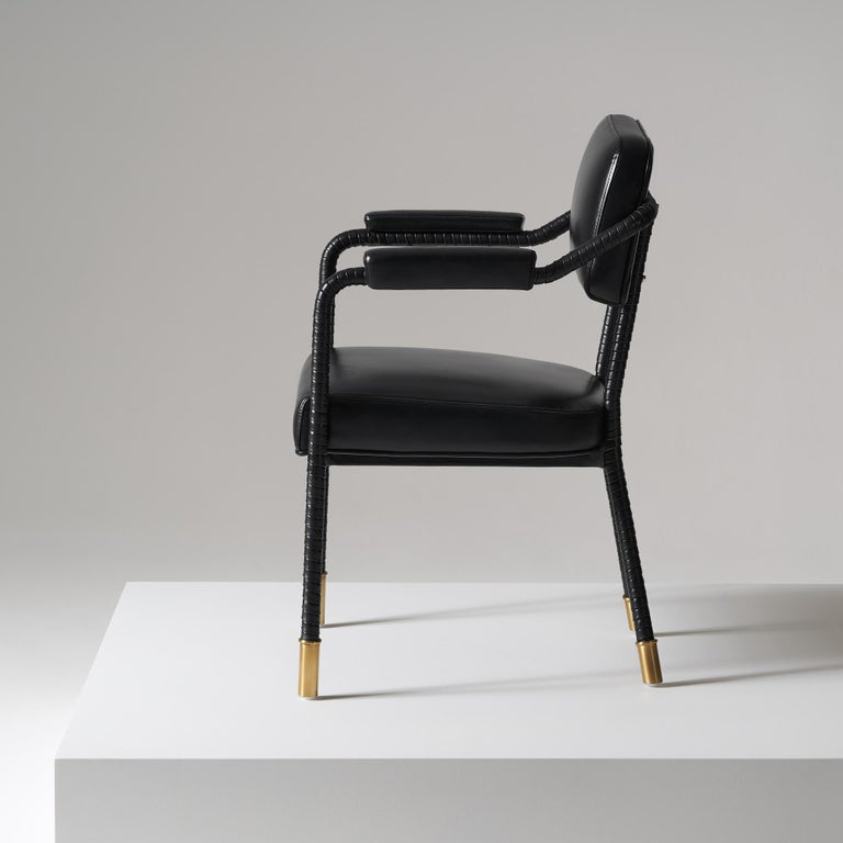 Brushed And Objects Easton Dining Chair, Fully Wrapped Upholstered Leather in Black For Sale