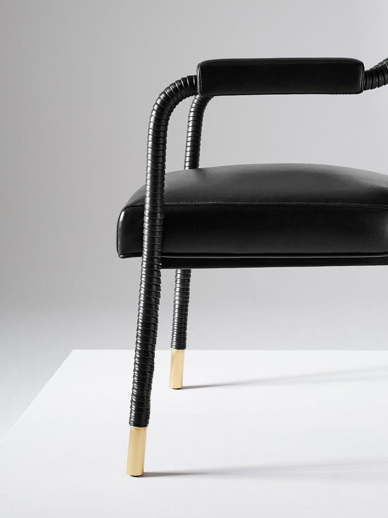 And Objects Easton Dining Chair, Fully Wrapped Upholstered Leather in Black In New Condition For Sale In London, Greater London