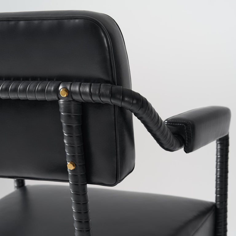 Contemporary And Objects Easton Dining Chair, Fully Wrapped Upholstered Leather in Black For Sale