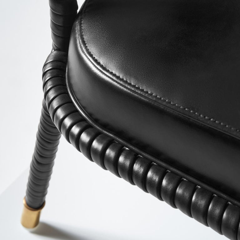 And Objects Easton Dining Chair, Fully Wrapped Upholstered Leather in Black For Sale 1