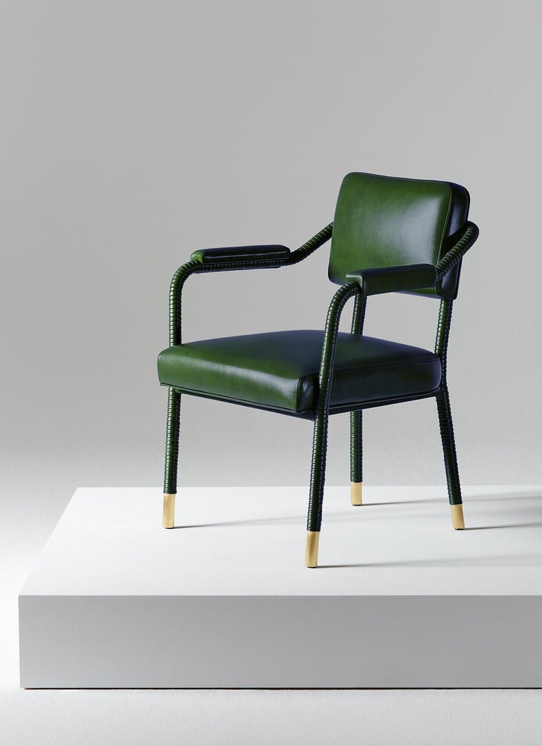 And Objects, product design studio founded by Martin Brudnizki and Nick Jeanes based in London.  The Easton dining chair is uniquely crafted from stainless steel and Italian leather. Hand-wrapped leather cloaks a tubular frame ending with brass