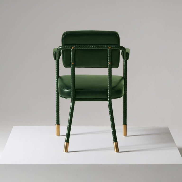 English And Objects Easton Dining Chair, Fully Wrapped Upholstered Leather in Green For Sale