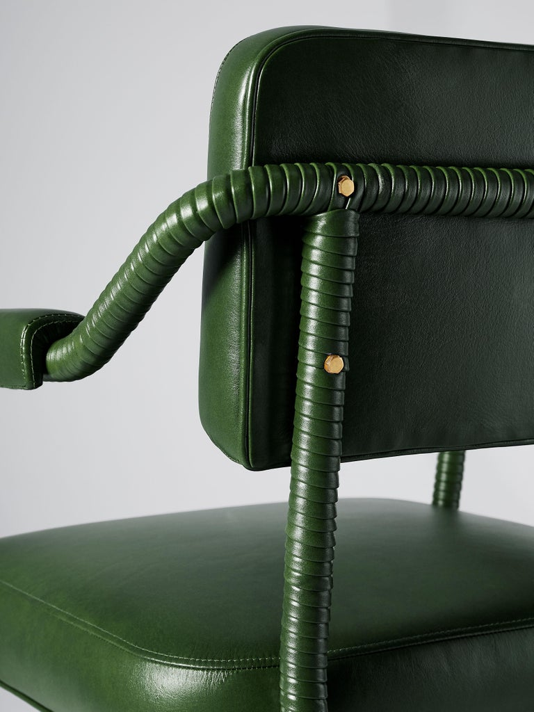 Brushed And Objects Easton Dining Chair, Fully Wrapped Upholstered Leather in Green For Sale