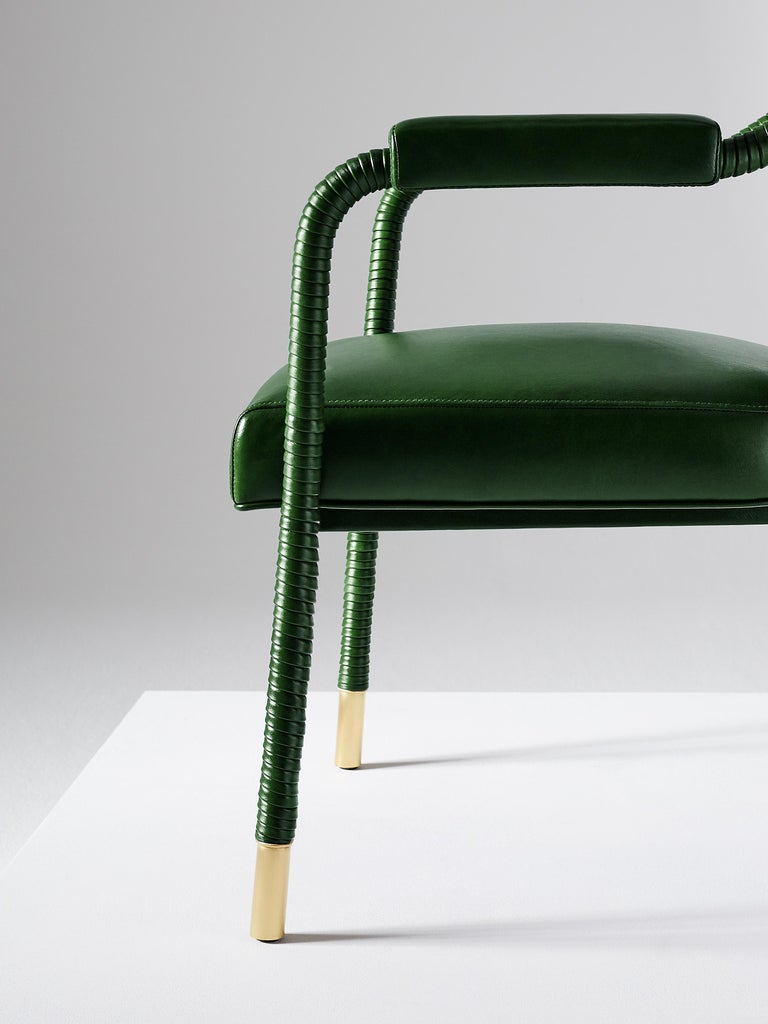And Objects Easton Dining Chair, Fully Wrapped Upholstered Leather in Green In New Condition For Sale In London, Greater London