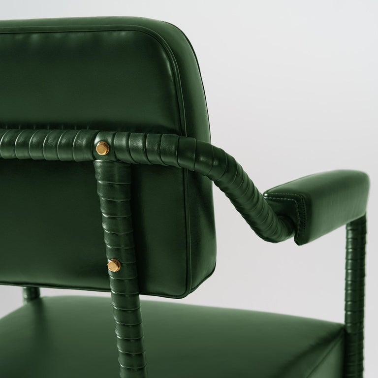 Contemporary And Objects Easton Dining Chair, Fully Wrapped Upholstered Leather in Green For Sale