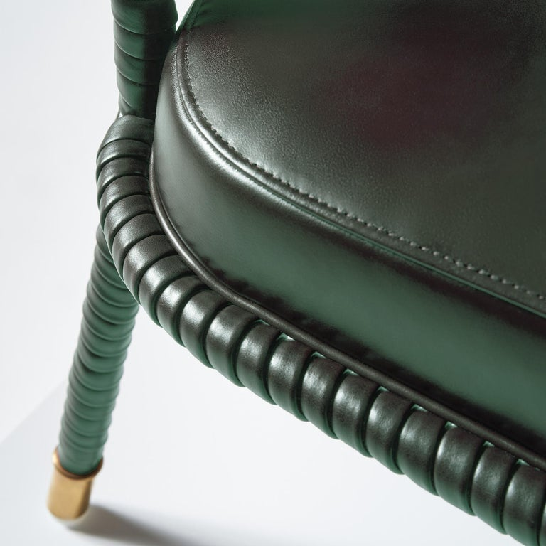 Brass And Objects Easton Dining Chair, Fully Wrapped Upholstered Leather in Green For Sale
