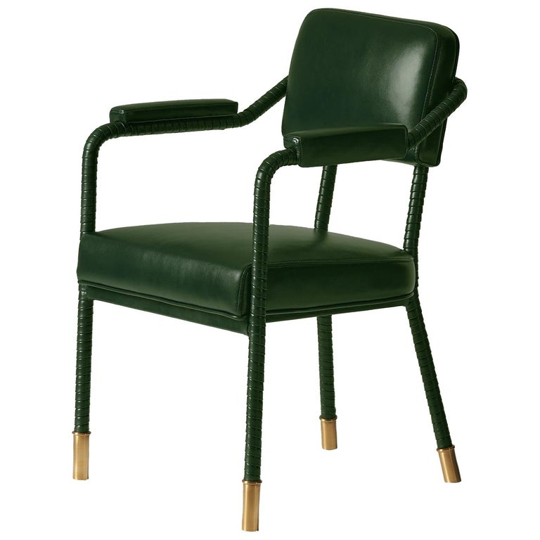 And Objects Easton Dining Chair, Fully Wrapped Upholstered Leather in Green For Sale