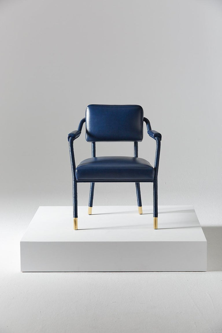 English And Objects Easton Dining Chair, Fully Wrapped Upholstered Leather in Navy For Sale