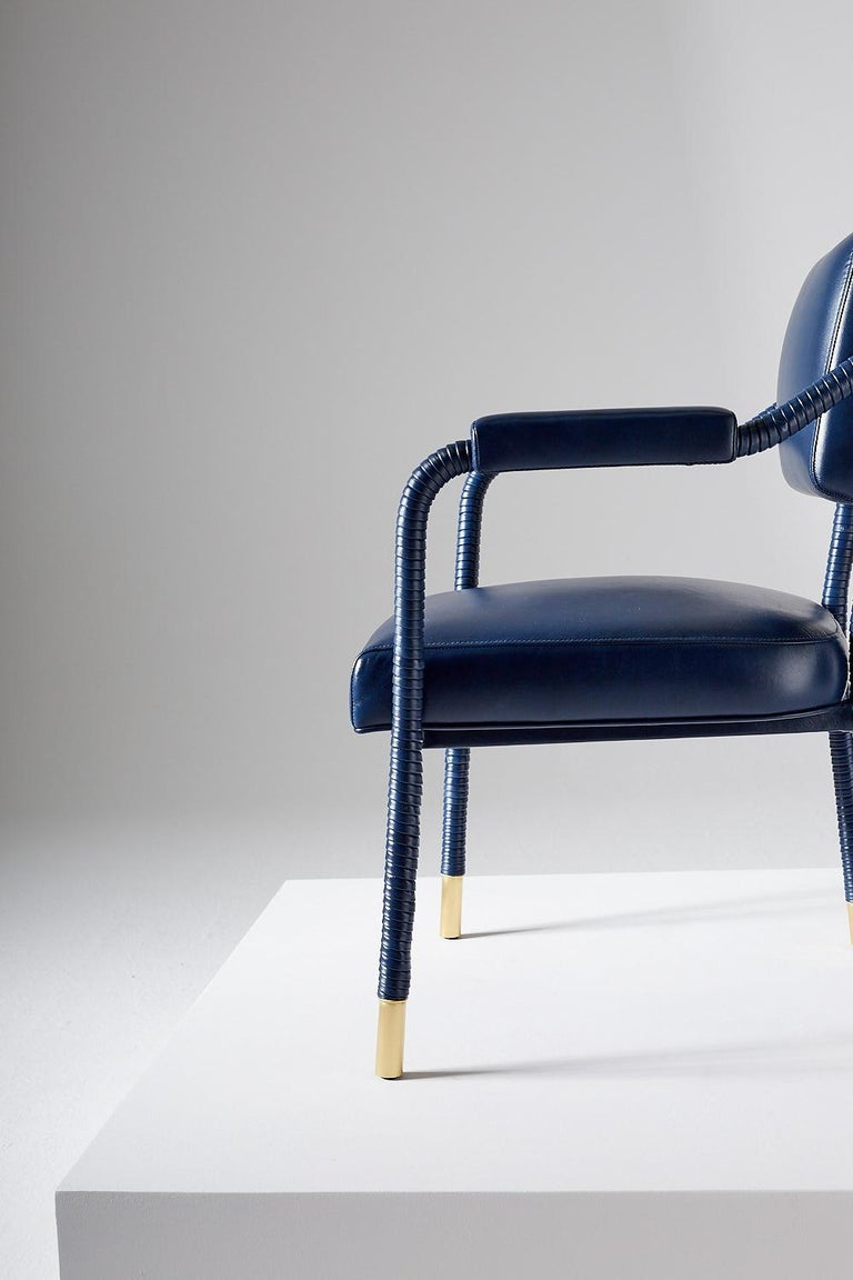 And Objects Easton Dining Chair, Fully Wrapped Upholstered Leather in Navy In New Condition For Sale In London, Greater London