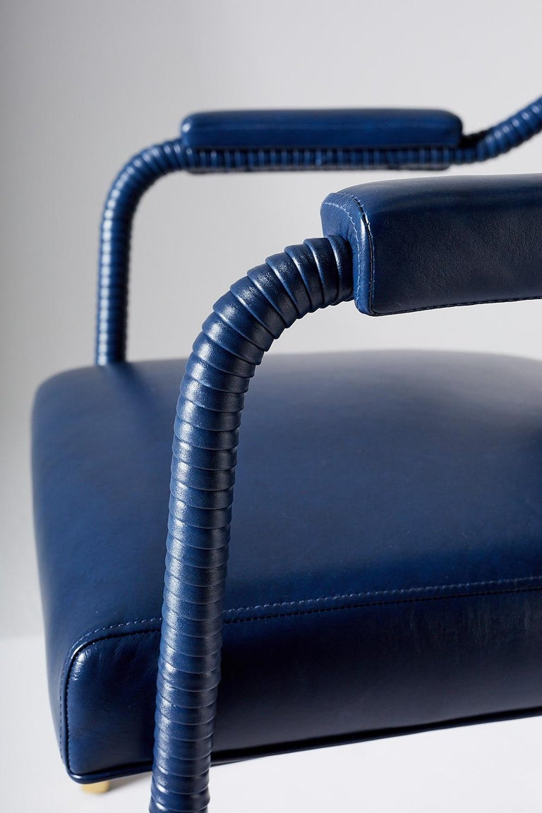 Contemporary And Objects Easton Dining Chair, Fully Wrapped Upholstered Leather in Navy For Sale