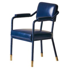 And Objects Easton Dining Chair, Fully Wrapped Upholstered Leather in Navy