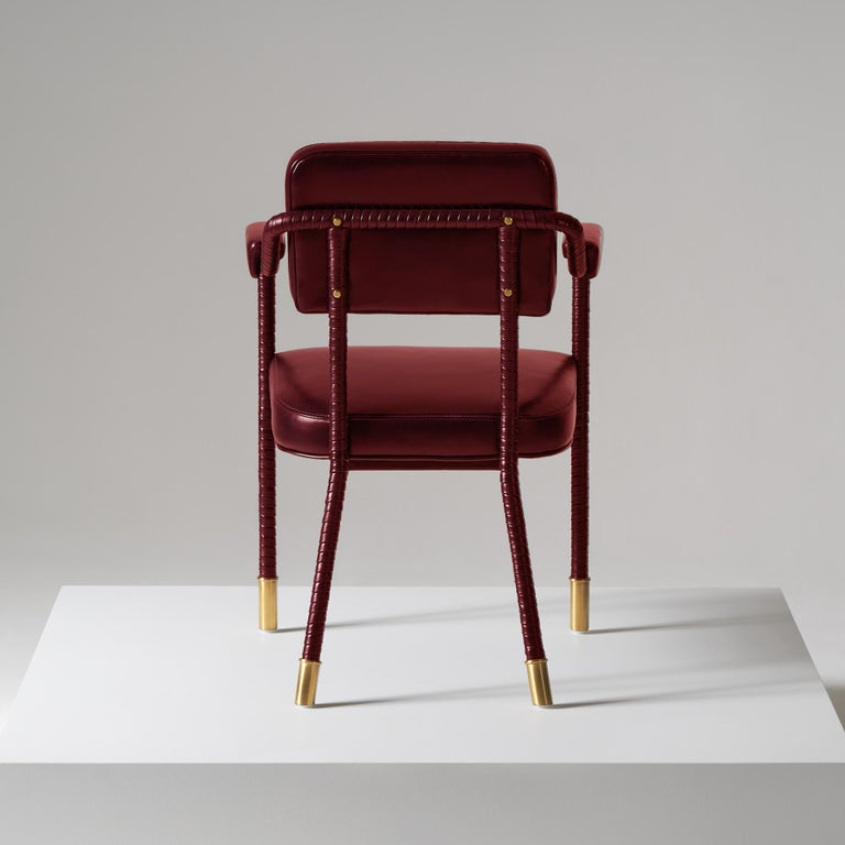 English And Objects Easton Dining Chair, Fully Wrapped Upholstered Leather in Red For Sale