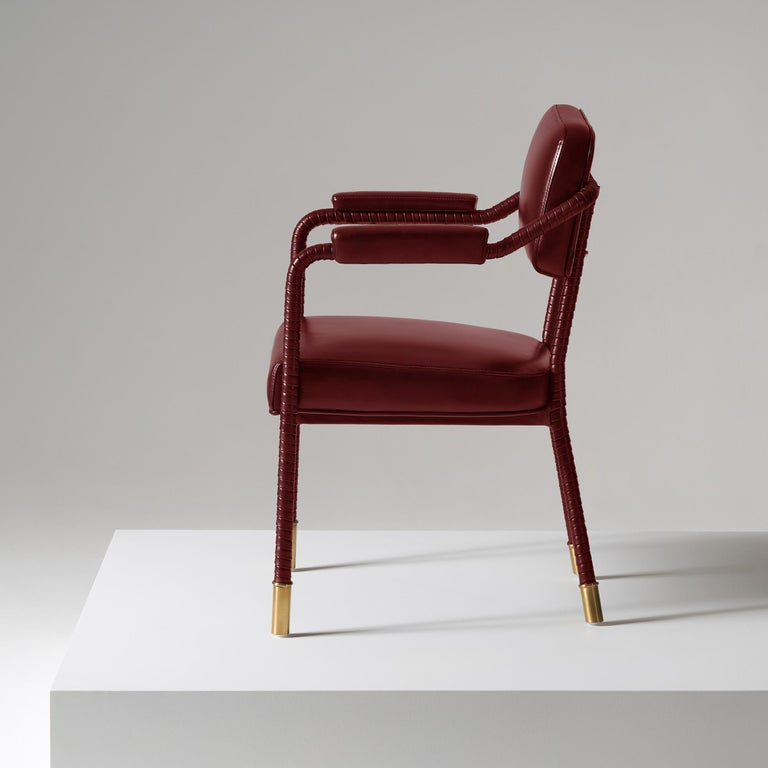 Brushed And Objects Easton Dining Chair, Fully Wrapped Upholstered Leather in Red For Sale