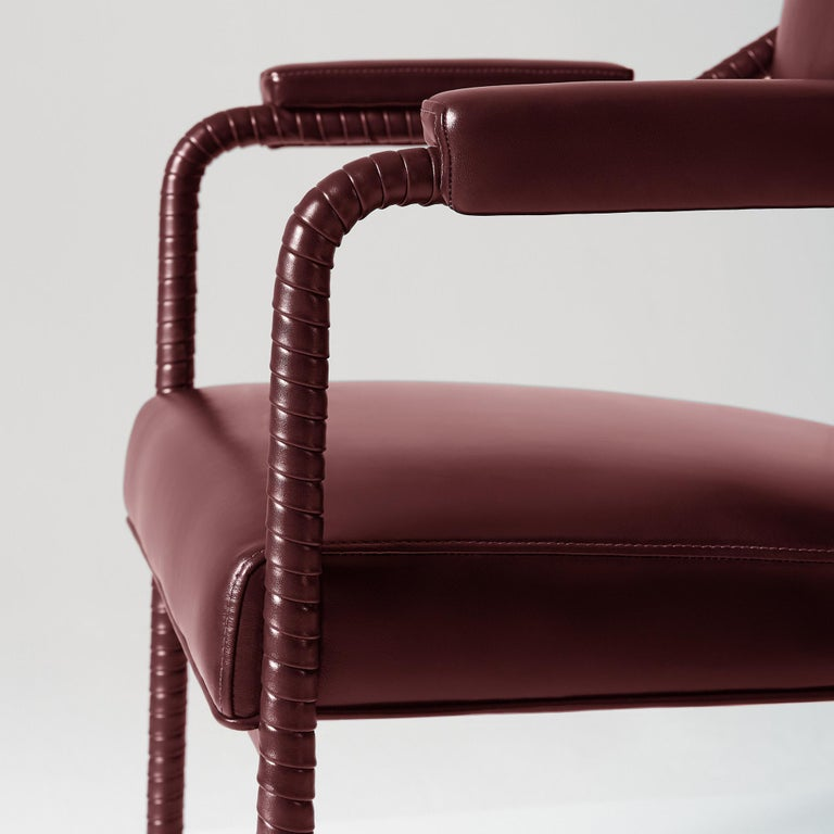 And Objects Easton Dining Chair, Fully Wrapped Upholstered Leather in Red In New Condition For Sale In London, Greater London