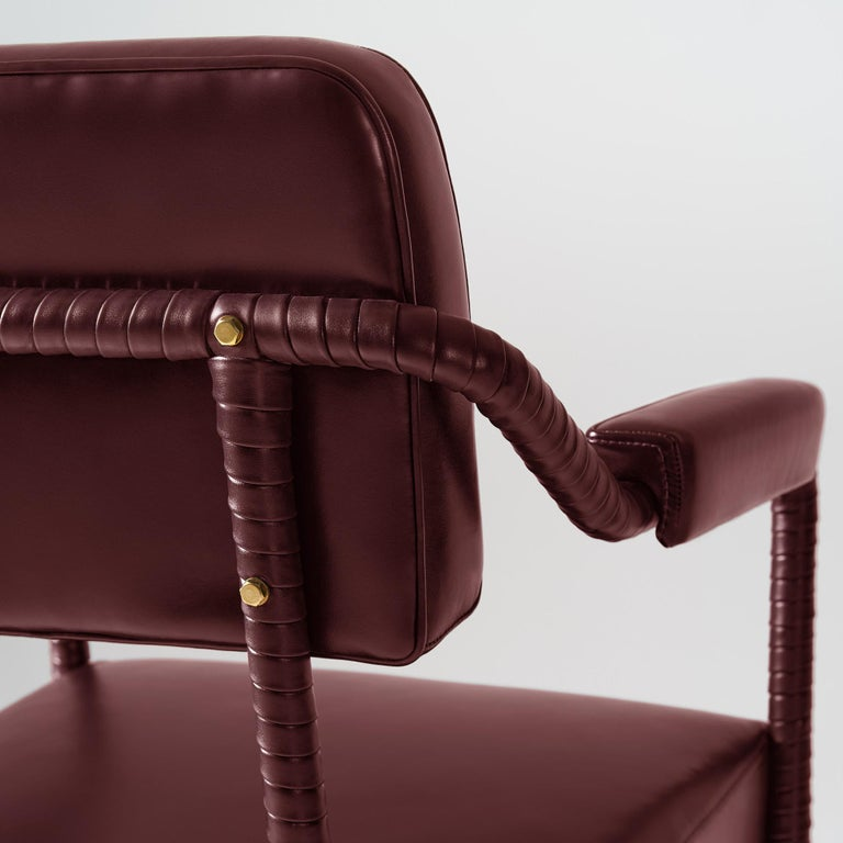 Contemporary And Objects Easton Dining Chair, Fully Wrapped Upholstered Leather in Red For Sale