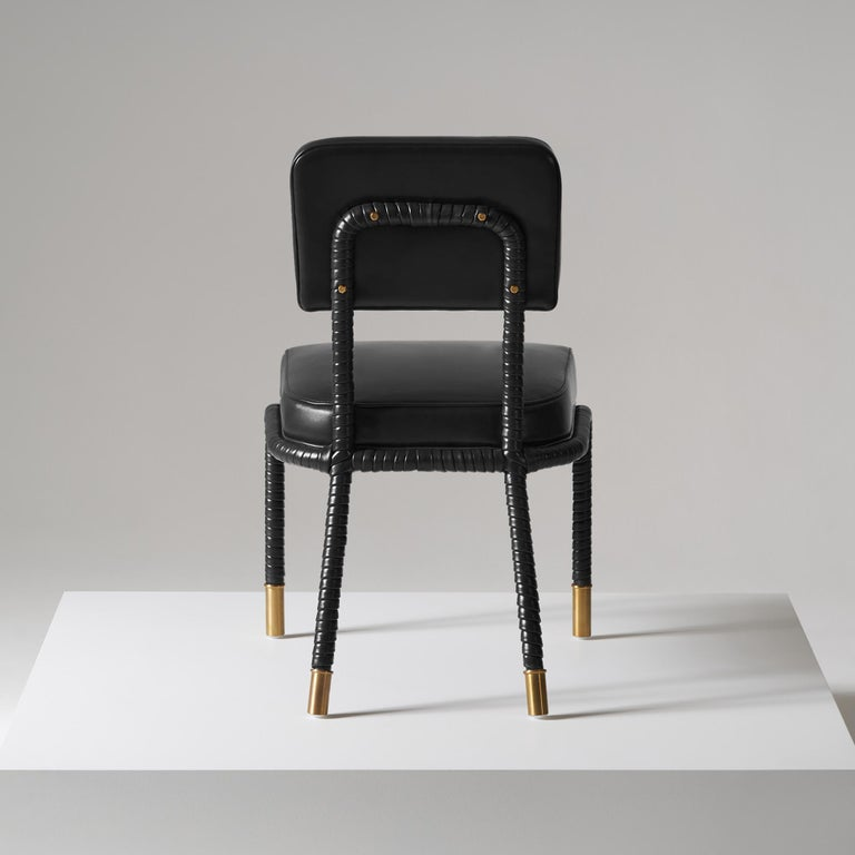 British And Objects Easton Side Chair, Fully Wrapped Upholstered Leather in Black For Sale