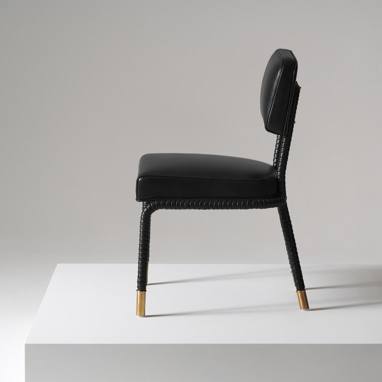 Brushed And Objects Easton Side Chair, Fully Wrapped Upholstered Leather in Black For Sale