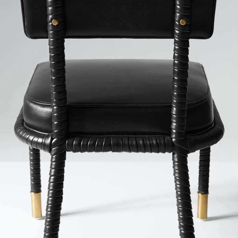 Contemporary And Objects Easton Side Chair, Fully Wrapped Upholstered Leather in Black For Sale