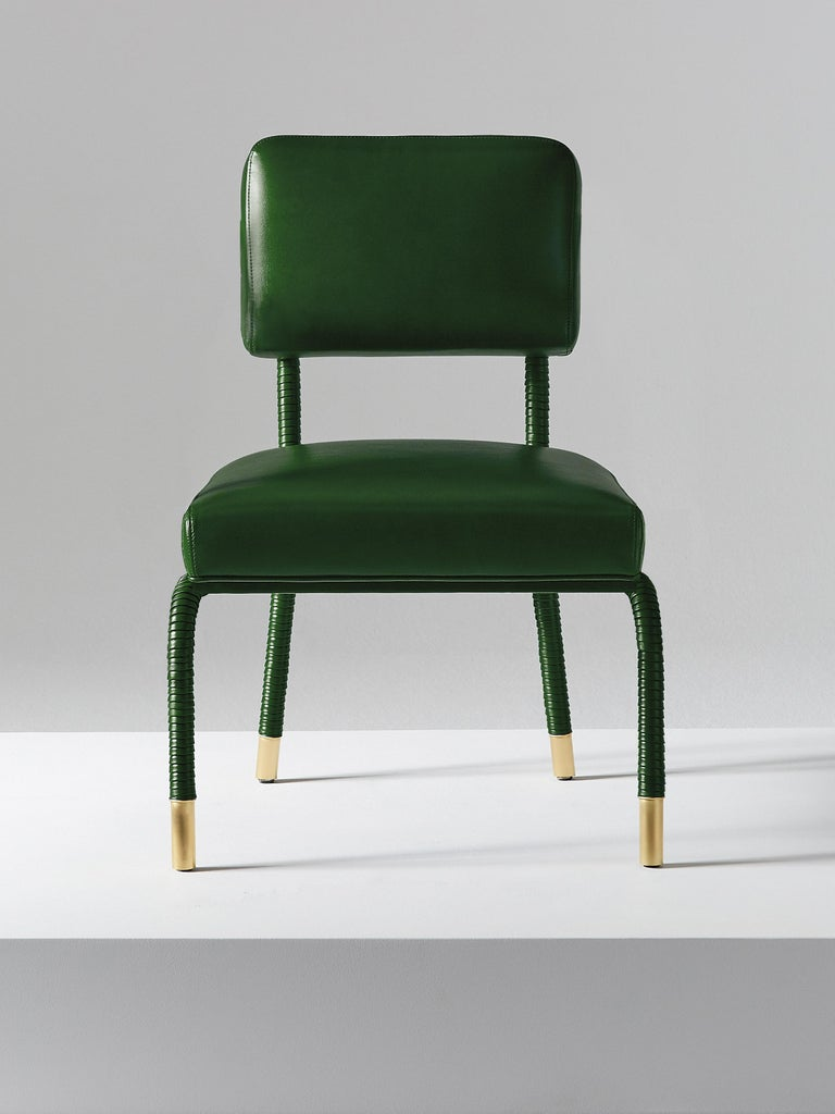 British And Objects Easton Side Chair, Fully Wrapped Upholstered Leather in Green For Sale