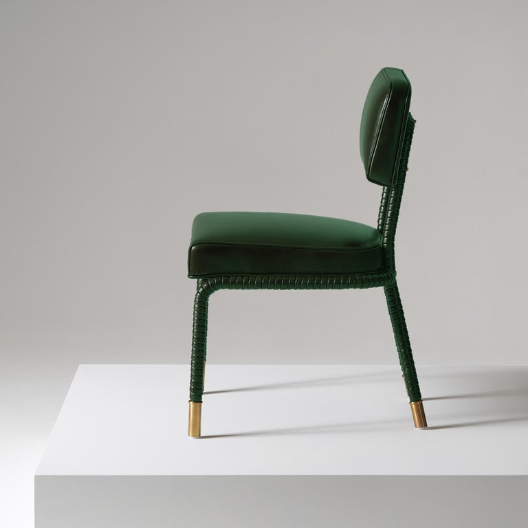 Brushed And Objects Easton Side Chair, Fully Wrapped Upholstered Leather in Green For Sale