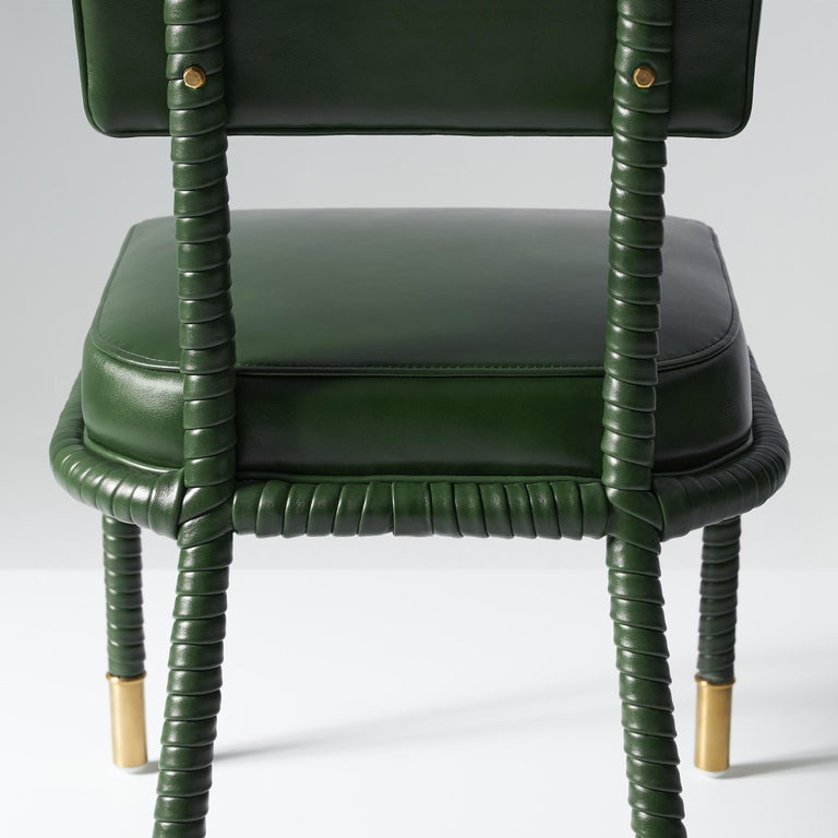 Contemporary And Objects Easton Side Chair, Fully Wrapped Upholstered Leather in Green For Sale