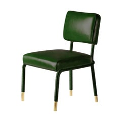 And Objects Easton Side Chair, Fully Wrapped Upholstered Leather in Green