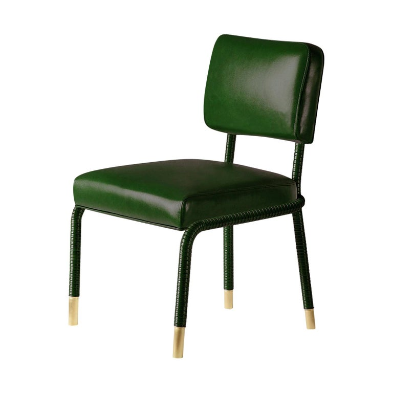 And Objects Easton Side Chair, Fully Wrapped Upholstered Leather in Green For Sale