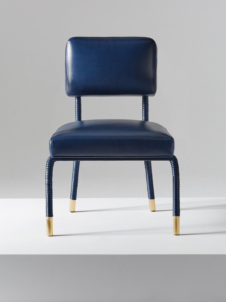 British And Objects Easton Side Chair, Fully Wrapped Upholstered Leather in Navy For Sale