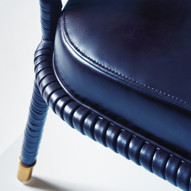 And Objects Easton Side Chair, Fully Wrapped Upholstered Leather in Navy In New Condition For Sale In London, Greater London