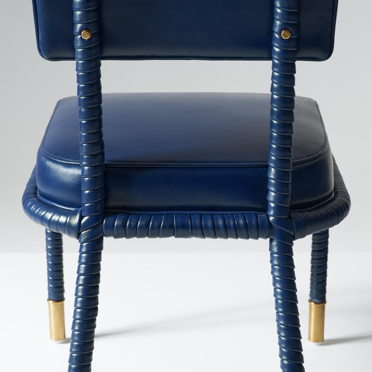 Contemporary And Objects Easton Side Chair, Fully Wrapped Upholstered Leather in Navy For Sale
