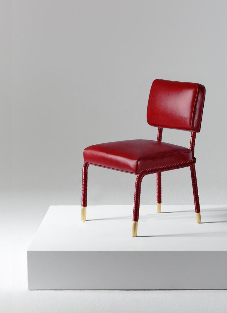 And Objects, product design studio founded by Martin Brudnizki and Nick Jeanes based in London.  The Easton side chair is uniquely crafted from stainless steel and Italian leather. Hand-wrapped leather cloaks a tubular frame ending with brass