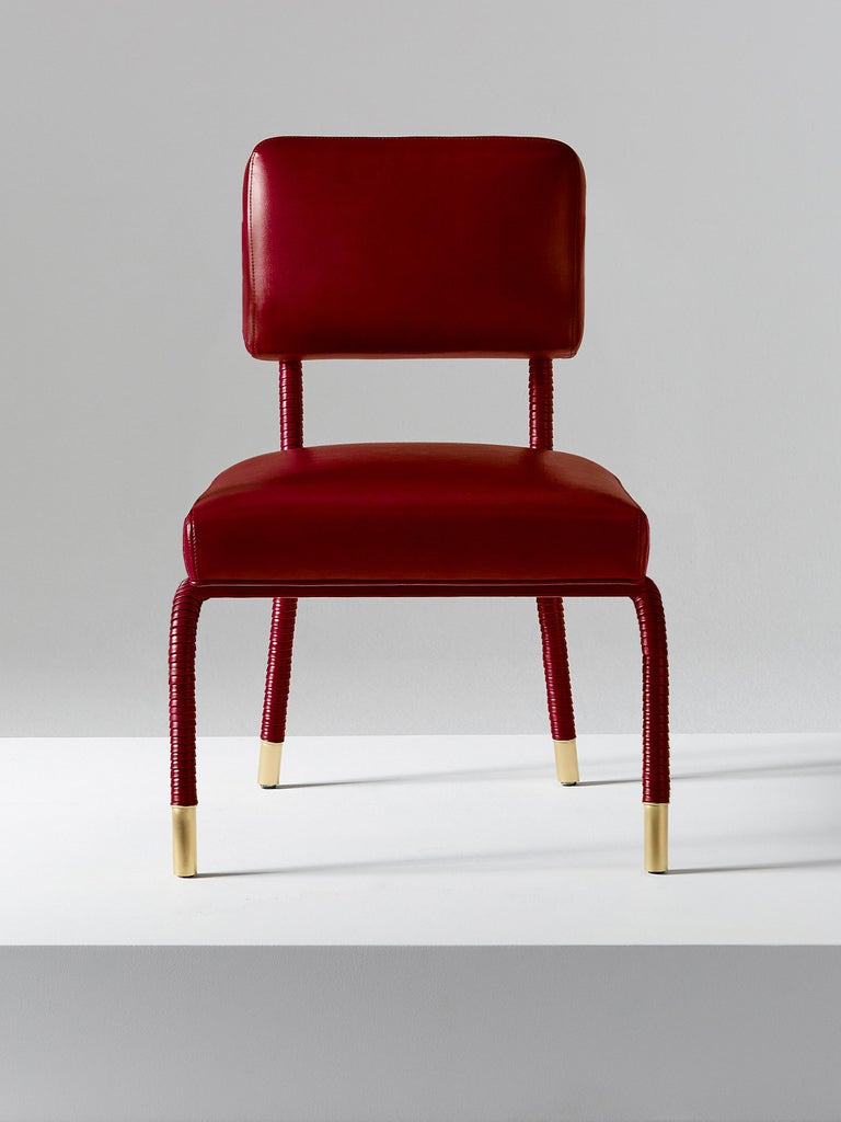 British And Objects Easton Side Chair, Fully Wrapped Upholstered Leather in Red For Sale