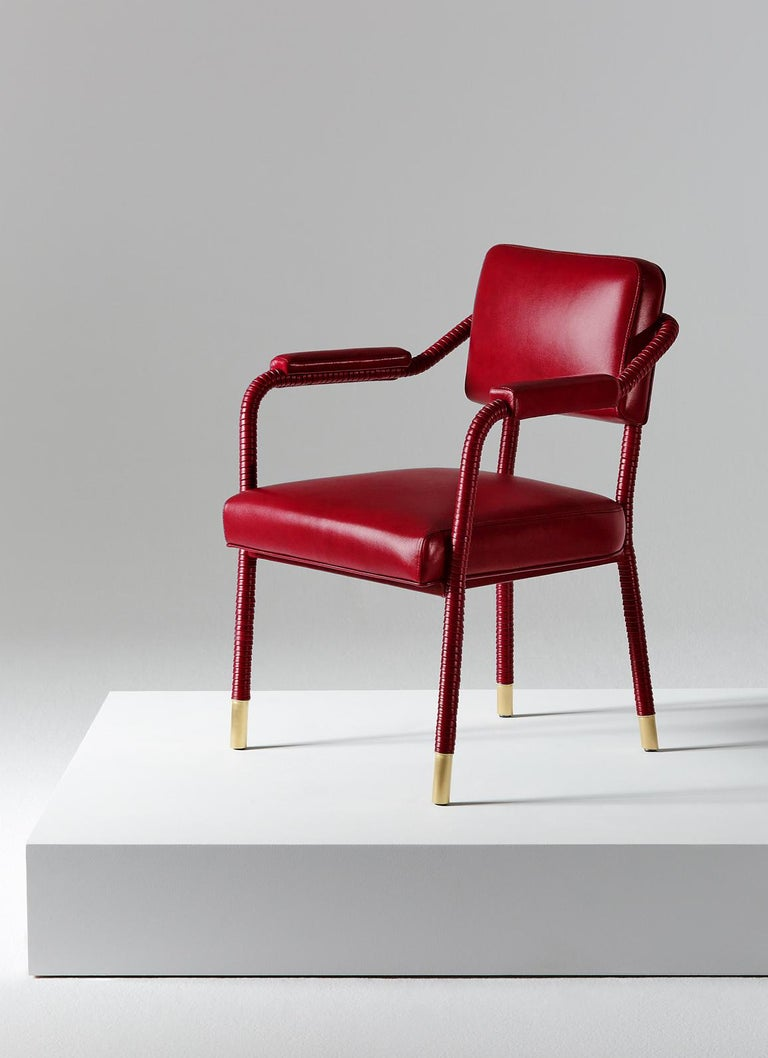 Brushed And Objects Easton Side Chair, Fully Wrapped Upholstered Leather in Red For Sale