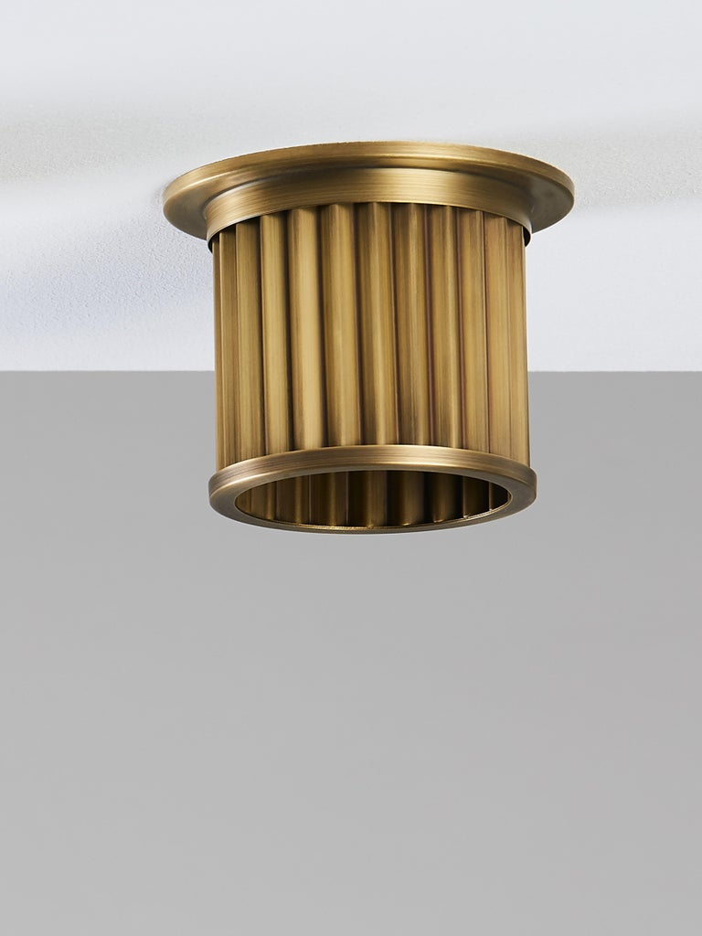 Hand-Crafted And Objects Littleton End Cap Spot Diffuser, Brass Bronze Recess Light Shade For Sale
