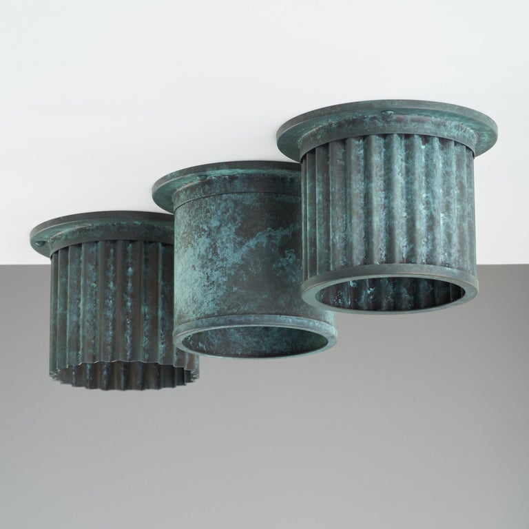 British And Objects Littleton Spot Diffuser, Verdigris Recessed Spot Light Shade For Sale
