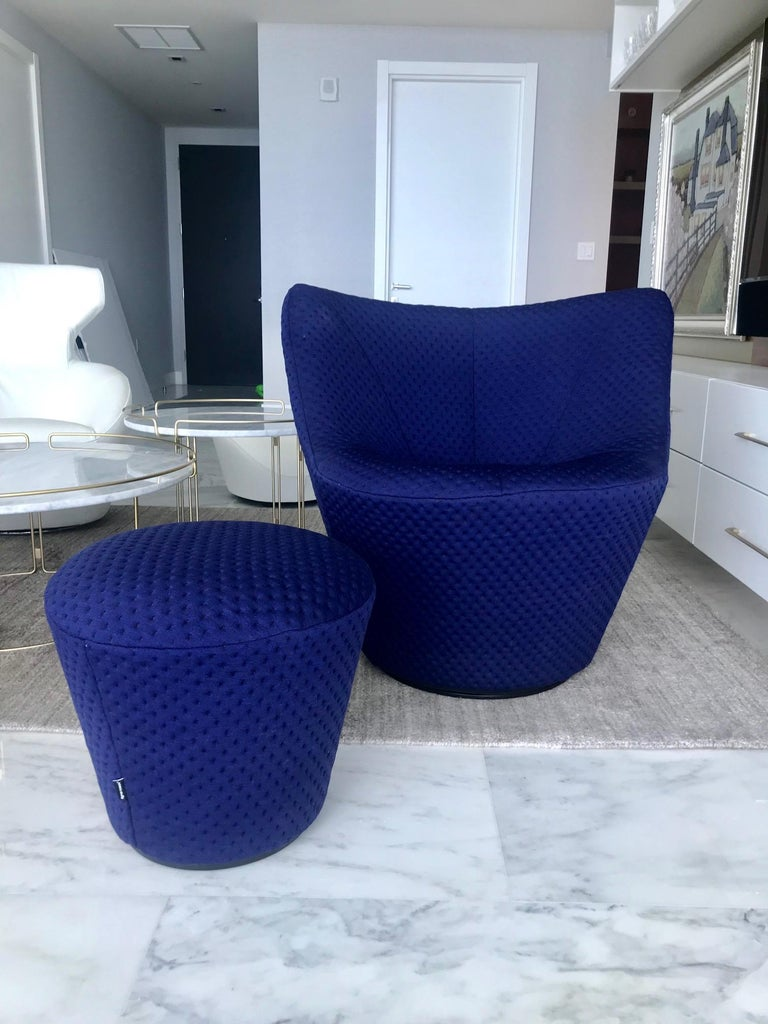 Modern Anda Swivel Armchair and Ottoman by Pierre Paulin for Ligne Roset, circa 2018 For Sale