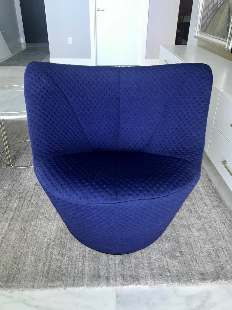 French Anda Swivel Armchair and Ottoman by Pierre Paulin for Ligne Roset, circa 2018 For Sale