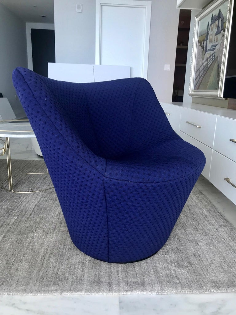 Contemporary Anda Swivel Armchair and Ottoman by Pierre Paulin for Ligne Roset, circa 2018 For Sale