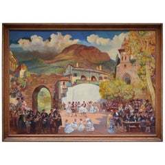 """Andalousian Party"", Oil on Tablex, Jean-Louis Paguenaud"