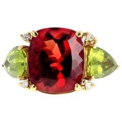 Andecine Labradorite, Peridot and Diamond 18 Karat Yellow Gold Ring