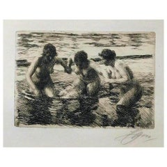 """Anders Zorn Etching, 1919, """"Against the Current"""""""