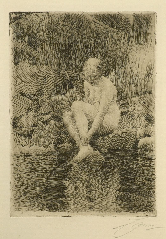 """Dagmar, 1912,"" Anders Zorn, Swedish, etching, nude, coast, water's edge"