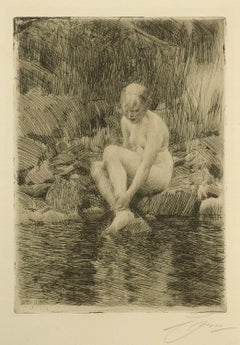 """Dagmar, 1912,"" Anders Zorn, Swedish, etching, nude, coast, water's edge"