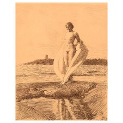 """Anders Zorn, Sweden, Facsimile Print, """"The Swan"""", Young Naked Woman"""