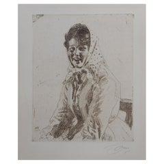 "Anders Zorn Swedish Artist -Etching, 1912, Portrait of a Skeri Girl ""Skerikulla"""