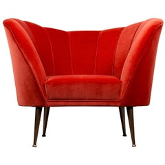 Andes Armchair in Bright Red Cotton Velvet