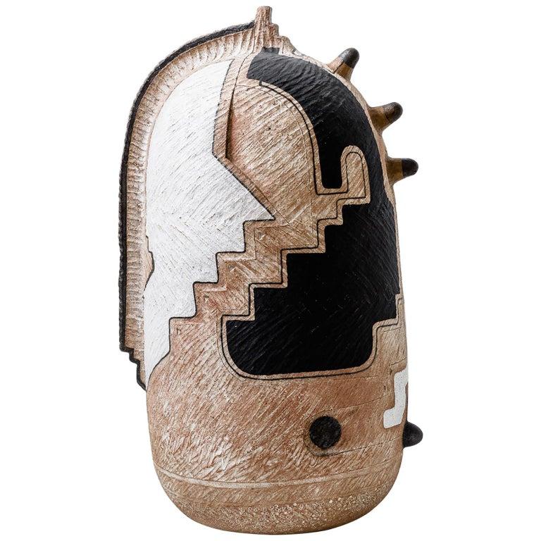 "Andile Dyalvane, ""Gaz'tyeketye"" Hand-Coiled Terracotta Clay Sculpture For Sale"